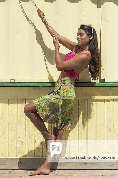 Exotic woman. Tarifa  Costa de la Luz  Cadiz  Andalusia  Spain.