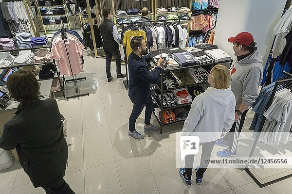 Excited shoppers crowd the new Nordstrom Men's Store in Midtown Manhattan in New York on its grand opening day  Thursday  April 12  20187. The three-story 47 000 square feet store is directly across from the future women's store opening in 2019. The store is Nordstrom's first-ever New York store although it already has two Nordstrom Rack off-price stores. The store is luxe and service oriented even offering around-the-clock pick up of online orders if you must order your Comme de Garcon shirt at 2AM.