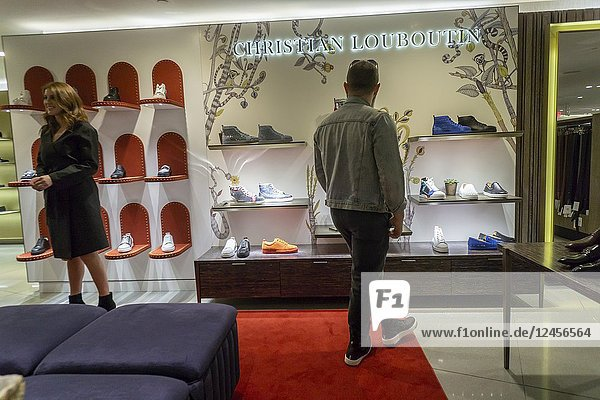 Christian Louboutin footwear within the shoe department in the new Nordstrom Men's Store in Midtown Manhattan in New York on its grand opening day  Thursday  April 12  20187. The three-story 47 000 square feet store is directly across from the future women's store opening in 2019. The store is Nordstrom's first-ever New York store although it already has two Nordstrom Rack off-price stores. The store is luxe and service oriented even offering around-the-clock pick up of online orders if you must order your Comme de Garcon shirt at 2AM.