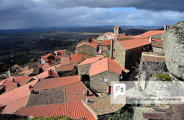 View of the rooves and rocks of Monsanto  Castelo Branco  Portugal.