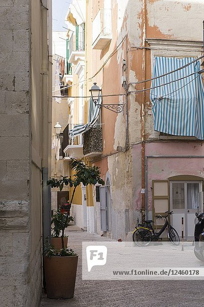 Old town of Bari on July 14  2018 in Puglia Italy.