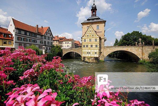 Obere Mühlbrücke 'High bridge' in Bamberg  Bavaria  Germany
