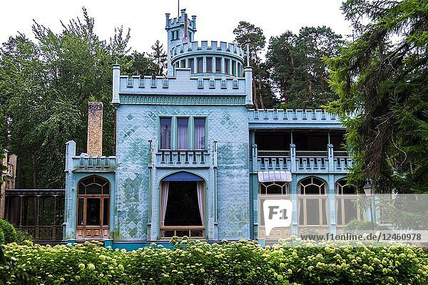 Excentric blue castle in Jurmala  Latvia  Europe.