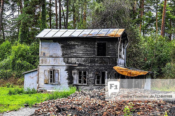 Burnt house in Jurmala  Latvia  Europe.
