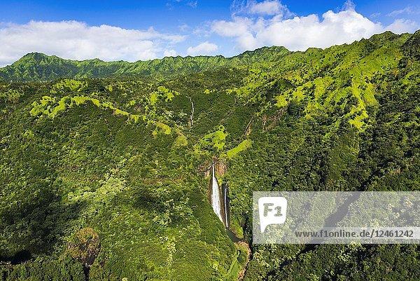 Manawaiopuna Falls (aerial) also known as Jurassic Park Falls  Hanapepe Valley  Kauai  Hawaii USA.