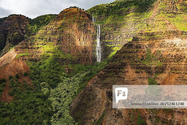 Waipoo Falls (aerial)  Waimea Canyon State Park  Kauai  Hawaii USA.