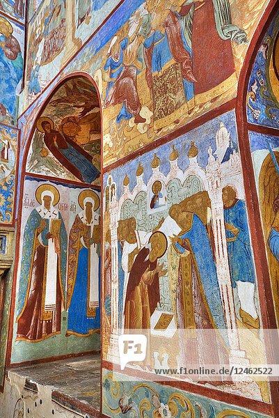 Frescoes  St John the Theologian's Gate Church  Kremlin  Rostov Veliky  Golden Ring  Yaroslavl Oblast  Russia