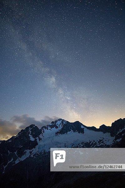 Stars and Milky Way above the North Face of Mount Disgrazia  Chiareggio  Valmalenco  Province of Sondrio  Lombardy  Italy.