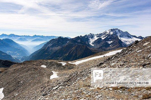 Mount Disgrazia seen from Passo Tremoggia  Chiareggio  Valmalenco  Province of Sondrio  Lombardy  Italy.