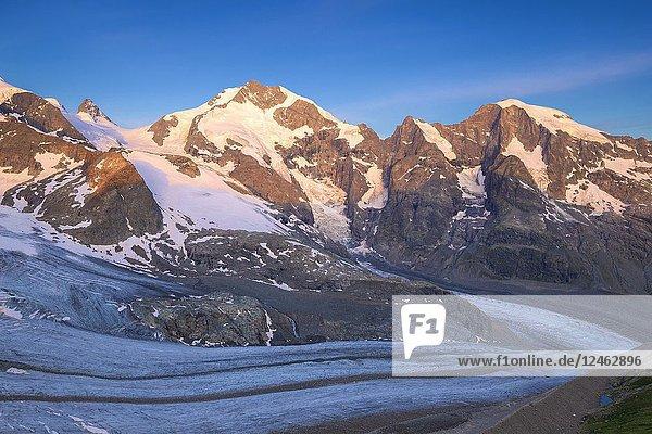 Piz Bernina with Vedret Pers Glacier in the foreground. Diavolezza Refuge  Bernina Pass  Engadin  Graubünden  Switzerland  Europe.
