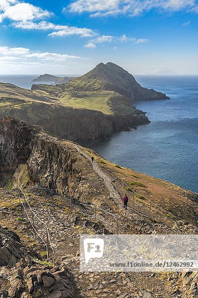 Woman walking on the trail to Point of Saint Lawrence. Canical  Machico district  Madeira region  Portugal.