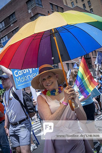Congresswoman Carolyn Maloney marches in the annual Lesbian  Gay  Bisexual  Transgender and Queer (LGBTQ) Pride Parade on Fifth Avenue in New York on Sunday  June 24  2018. This year the parade had a new route  starting on Seventh Avenue and then proceeding east eventually going up Fifth Avenue. The change is in anticipations of the WorldPride celebration to be held in New York next year on the 50th anniversary of the Stonewall uprising where millions of people are expected to converge on New York. (© Richard B. Levine).