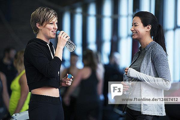 Two women talking in gym