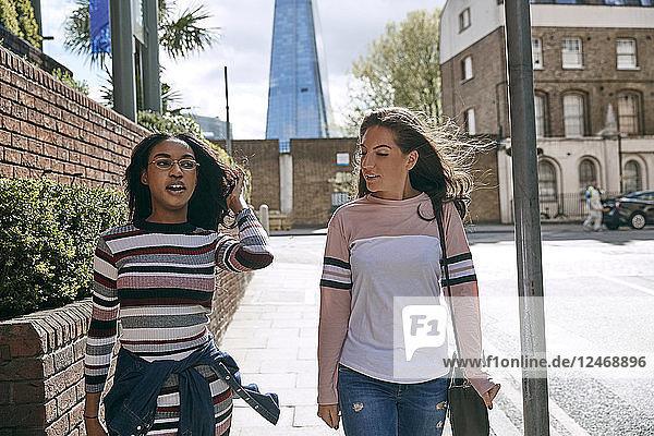 Teenage girls walking together