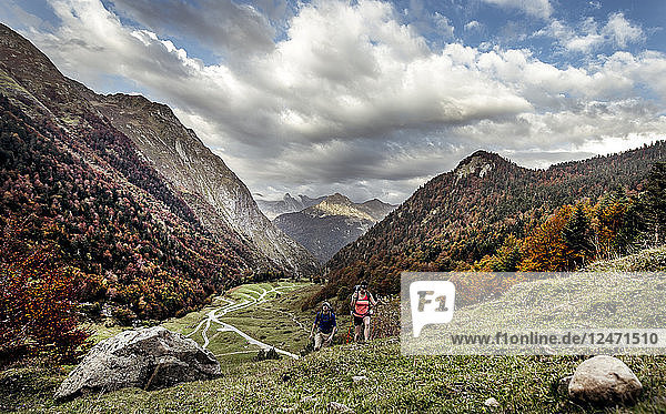 Young couple hiking in mountains