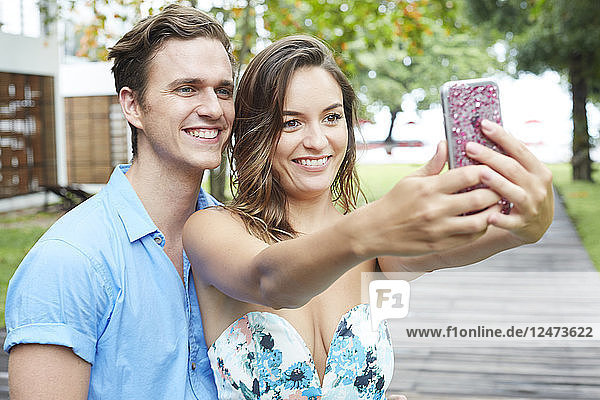 Young couple taking selfie in Ko Samui  Thailand