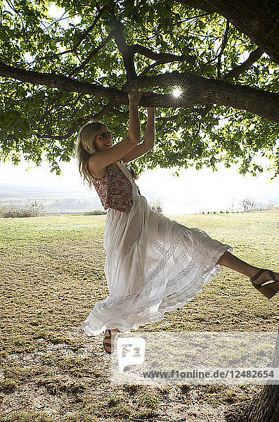 Young woman swinging from tree