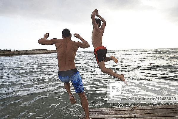 Young men jumping off pontoon