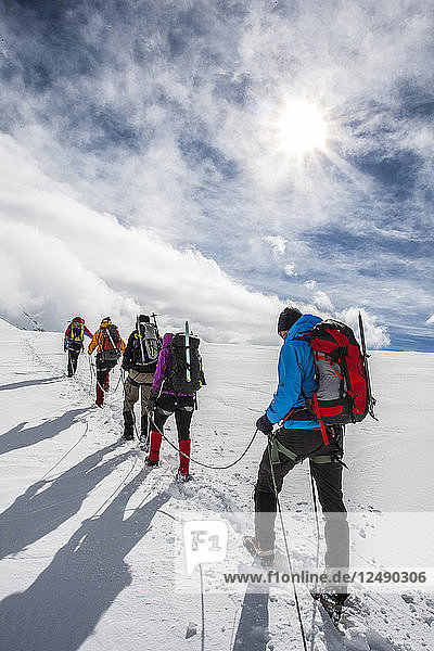 Group of alpinists starting the ascension of the Breithorn