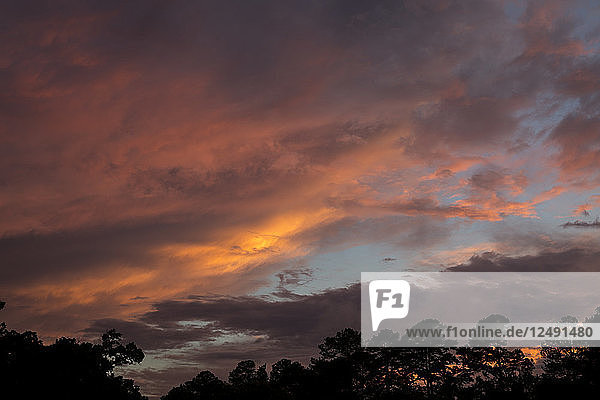 Colorful Sunset After A Late Afternoon Summer Storm As Seen From Raleigh  North Carolina