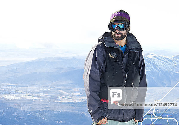 Portrait Of A Snowboarder At Cerro Catedral In Argentina
