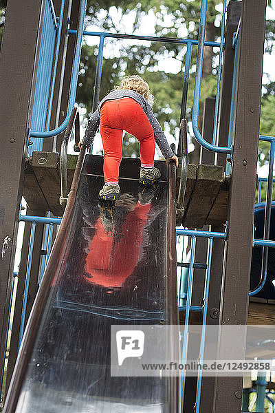 Toddler girl climbs to the top of a slide at playground in Portland  Oregon.