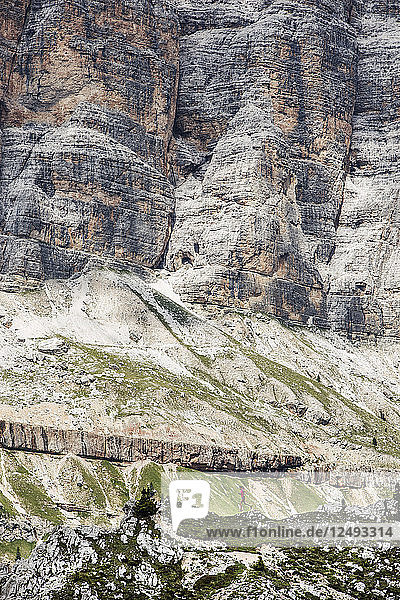 Trail running around the Cinque Torre in the famous and beautiful Dolomites.