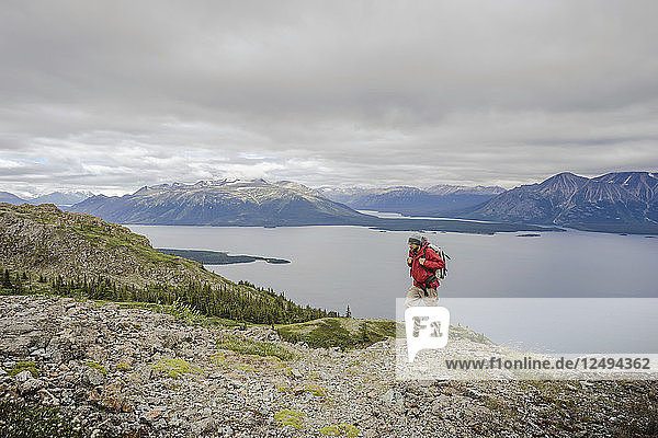 Male hiker on Monarch Mountain overlooking Atlin Lake towards the Boundary Mountain Ranges British Columbia