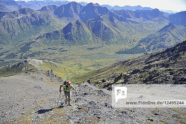 Female hiker starts her ascent up northeast ridge of Mount Williwaw (5445-feet)  highest peak in the front range of the Chugach Mountains in Anchorage  Alaska August 2011. Mount Williwaw is a class 3 route at the head of the Middle Fork Campbell Creek valley.