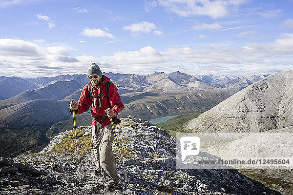 Male hiker Stone Mountain British Columbia in the Northern Rockies
