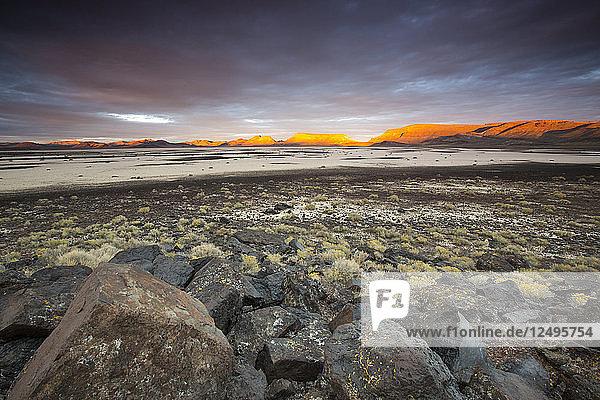 Sunset over Lunar Lake Playa  remote central Nevada