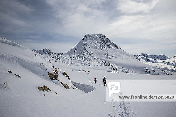 Skiers at the top of a pass with a wide expanse of the Coast Mountains ahead during the Spearhead Traverse in Whistler  British Columbia  Canada.