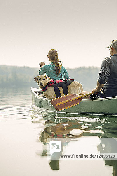 Man And Woman With Their Dog Canoeing On Caspian Lake