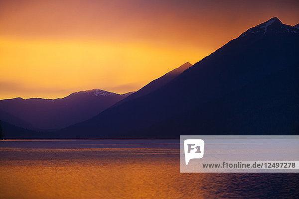 Sunset over Isaac Lake in Bowron Lake Provincial Park  British Columbia  Canada