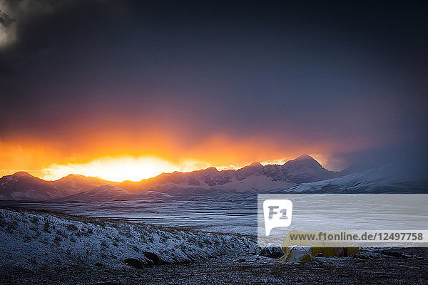 Cold Sunset Over The Base Camp In Tien Shan Mountains  Kazakhstan