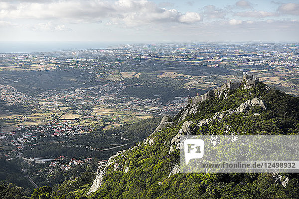 A View Of The Moorish Castle In Sintra  Portugal