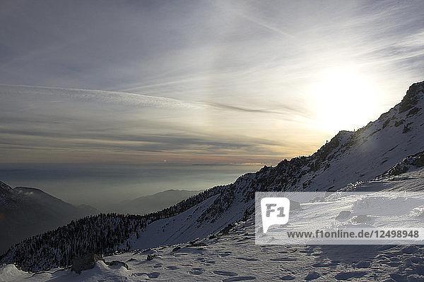 Setting sun seen from near the summit of Mt Baldy.