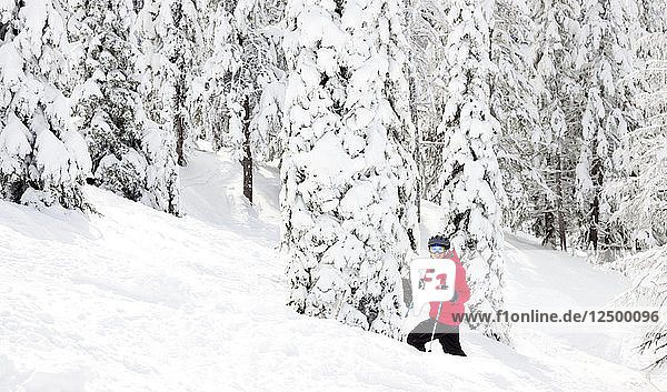 A Female Skier While Enjoying A Powder Day At Whitefish Mountain Resort