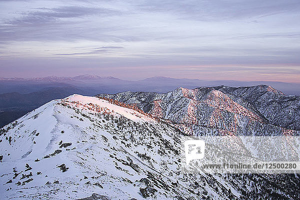 Alpenglow seen from the summit of Mt Baldy.