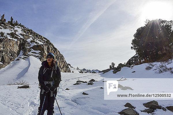 Enjoying some alpine sun while hiking in the Palisades Range  Eastern Sierra Nevada  California.