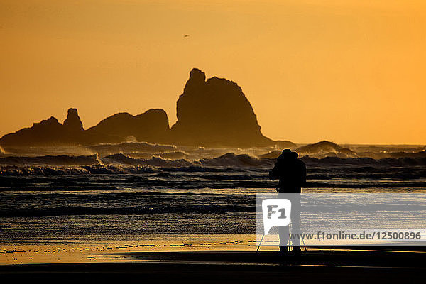 Photographer At Second Beach Of Olympic National Park