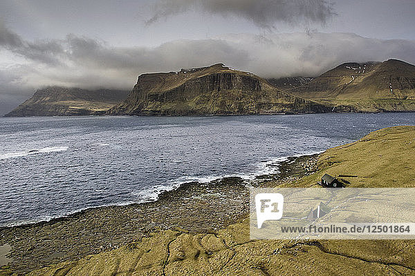 Aerial View Of Tindholmur  Rocky Islet Of Faroe Islands