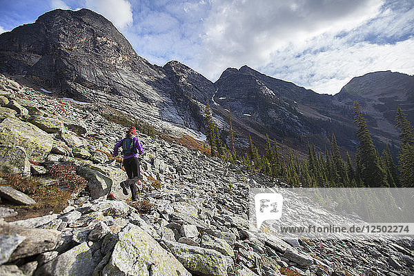 A Woman Trail Running In The Drinnon Pass Area At Valhalla Provincial Park  British Columbia  Canada