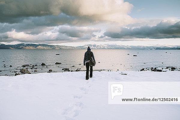 A woman in Lake Tahoe