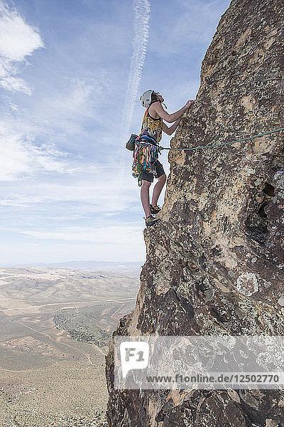 Climber Leland Nisky at Red Rocks Nevada.