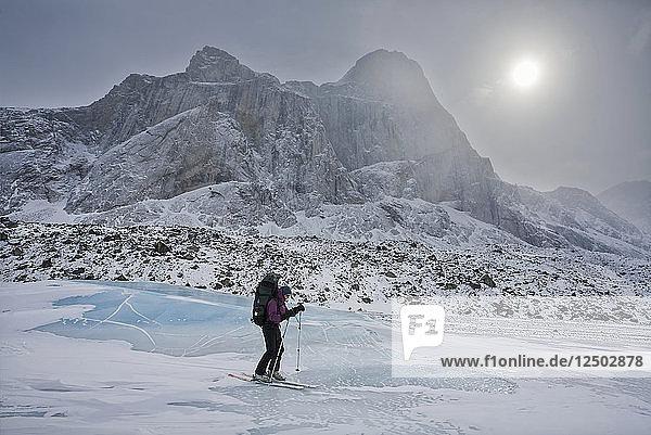 Person Skiing In Glacier In Baffin Island  Nunavut  Canada