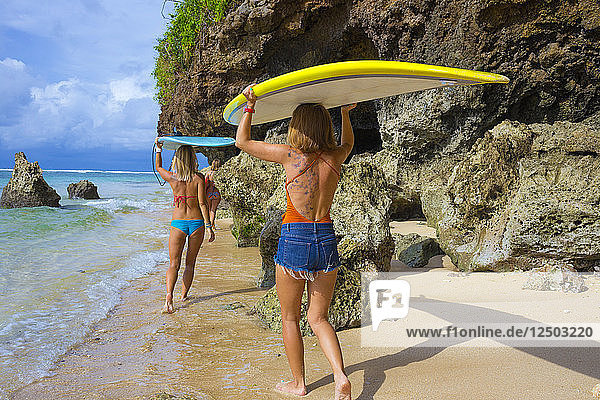Sufer girls on the beach.