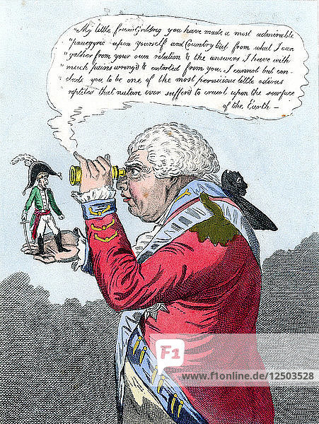 Napoleon and King George III as Gulliver and the King of Brobdingnag  July 1803. Artist: James Gillray