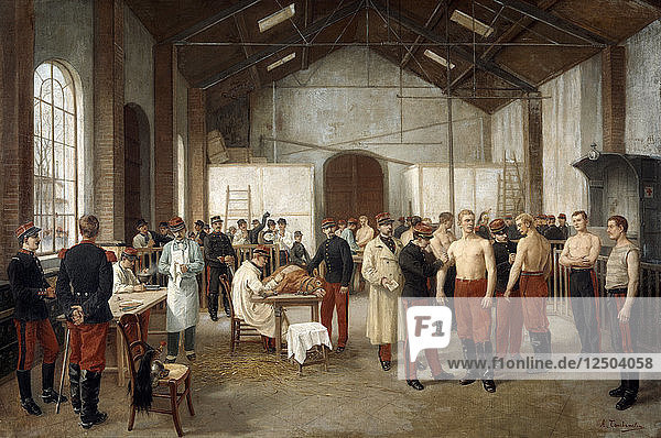 Vaccination at the Val de Grace Hospital in Paris  c1900. Artist: Alfred Touchemolin