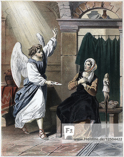 Angel bringing a letter from God to Christiana  c1850. Artist: Unknown